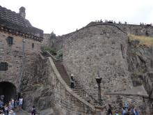 Stairs wind their way up a stone wall in Edinburgh Castle