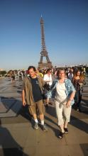 Chris and Myle on the Move near the Eiffel tower.