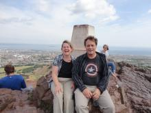 Chris and Myke looking windblown at the top of Arthur's Seat